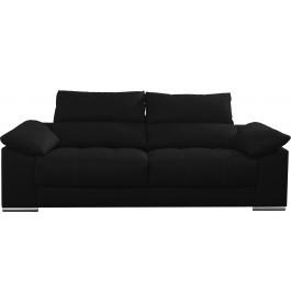 Canapé 2 places cuir noir relax têtières réglables assises coulissantes