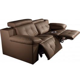 Canapé 2 places cuir taupe relax électrique têtières réglables