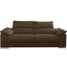 Canapé 2 places cuir taupe relax têtières réglables assises coulissantes