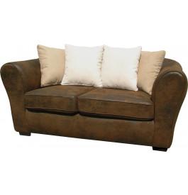 Canapé 2 places microfibre brun vieillie