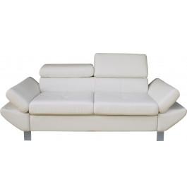 Canapé 2 places simili cuir blanc têtières réglables