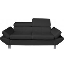 Canapé 2 places simili cuir gris anthracite têtières réglables