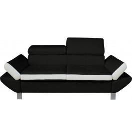 Canapé 2 places simili cuir noir et blanc têtières réglables