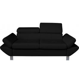 Canapé 2 places simili cuir noir têtières réglables