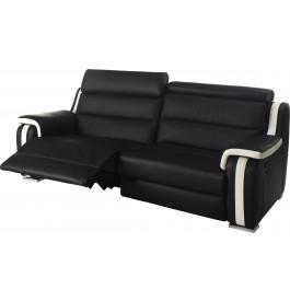 Canapé 3 places 2 relax électriques cuir noir et blanc