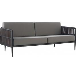 Canapé 3 places aluminium gris résine noyer avec coussins gris clair