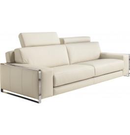 Canapé 3 places cuir blanc 2 tétières