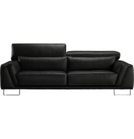 Canapé 3 places cuir noir coutures contrastées
