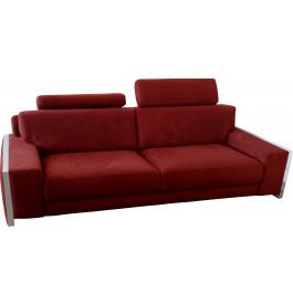 Canapé 3 places microfibre bordeaux avec 2 tétières