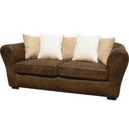 Canapé 3 places microfibre brun vieillie