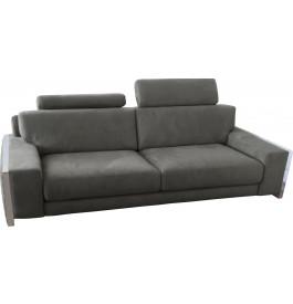 Canapé 3 places microfibre gris avec 2 tétières