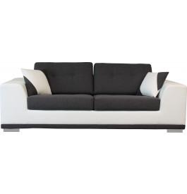 Canapé 3 places microfibre gris et blanc