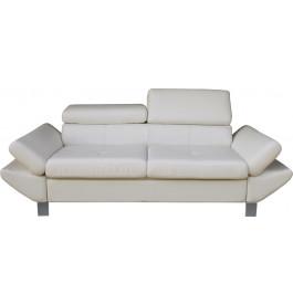 Canapé 3 places simili cuir blanc têtières réglables