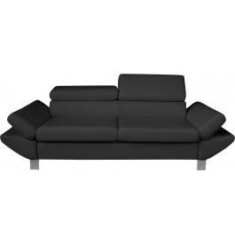 Canapé 3 places simili cuir gris anthracite têtières réglables