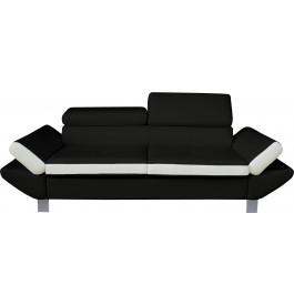 Canapé 3 places simili cuir noir et blanc têtières réglables