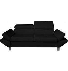 Canapé 3 places simili cuir noir têtières réglables