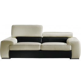 Canapé cuir 2 places appui-tête réglable John blanc-noir