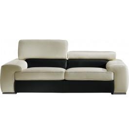 Canapé cuir 3 places appui-tête réglable John blanc-noir