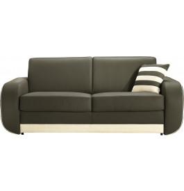 Canapé cuir 3 places bicolore Hillary blanc-gris