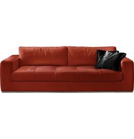 Canapé cuir 3 places capitonné Karen rouge