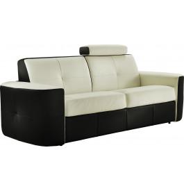 Canapé cuir capitonné bicolore 3 places Craig blanc-noir