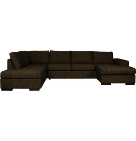 Canapé d'angle 5 places microfibre pieds bois massif brun