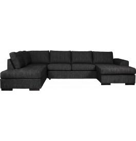 Canapé d'angle 5 places microfibre pieds bois massif gris