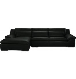 Canapé d'angle L280 cuir Greta noir