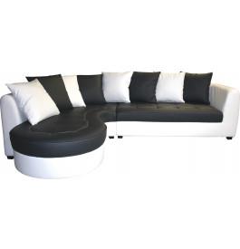 Canapé d'angle bicolore simili cuir blanc et gris anthracite