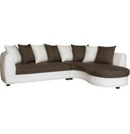 Canapé d'angle bicolore simili cuir blanc et tissu brun