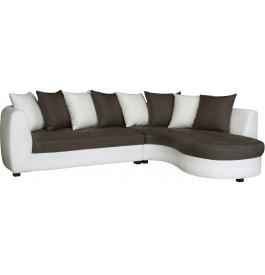 Canapé d'angle bicolore simili cuir blanc et tissu taupe