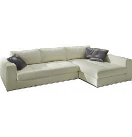 Canapé d'angle cuir L282 capitonné Karen blanc