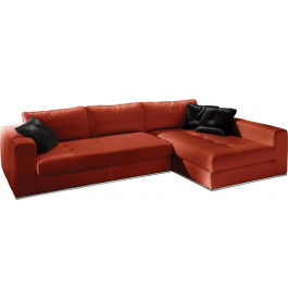 Canapé d'angle cuir L282 capitonné Karen rouge