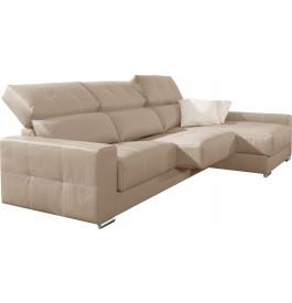 Canapé d'angle cuir beige relax têtières réglables assises coulissantes méridienne coffre