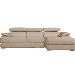 Canapé d'angle cuir beige têtières réglables multiposition