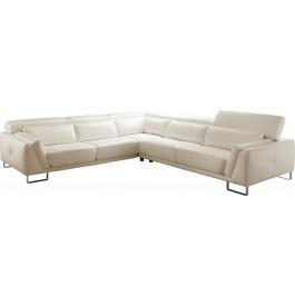 Canapé d'angle cuir blanc coutures contrastées