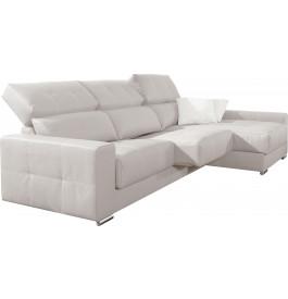 Canapé d'angle cuir blanc relax têtières réglables assises coulissantes méridienne coffre