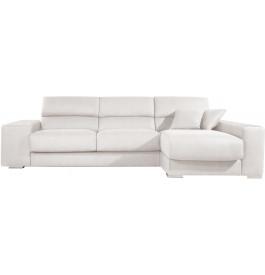 Canapé d'angle cuir blanc relax têtières réglables assises coulissantes méridienne coffre + 2 poufs