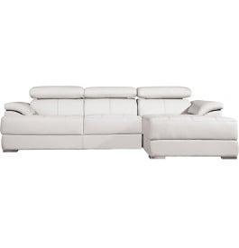 Canapé d'angle cuir blanc têtières réglables multiposition