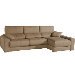Canapé d'angle cuir cappuccino relax têtières réglables assises coulissantes méridienne coffre