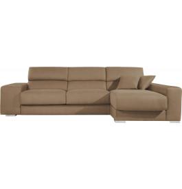 Canapé d'angle cuir cappuccino relax têtières réglables assises coulissantes méridienne coffre + 2 p
