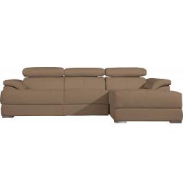 Canapé d'angle cuir cappuccino têtières réglables multiposition