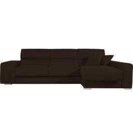 Canapé d'angle cuir chocolat relax têtières réglables assises coulissantes méridienne coffre