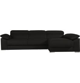 Canapé d'angle cuir noir relax têtières réglables assises coulissantes méridienne coffre
