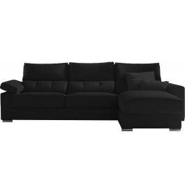 Canapé d'angle cuir noir têtières et accoudoirs réglables méridienne coffre