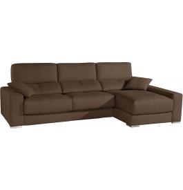 Canapé d'angle cuir taupe relax têtières réglables assises coulissantes méridienne coffre