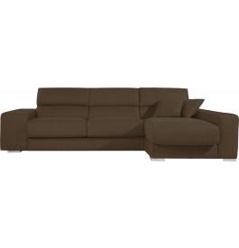Canapé d'angle cuir taupe relax têtières réglables assises coulissantes méridienne coffre + 2 poufs