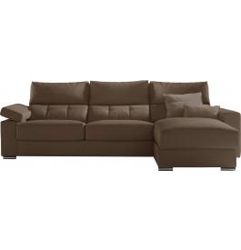 Canapé d'angle cuir taupe têtières et accoudoirs réglables méridienne coffre