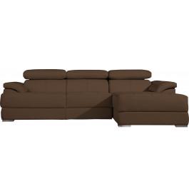 Canapé d'angle cuir taupe têtières réglables multiposition
