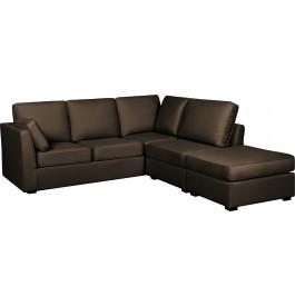 Canapé d'angle modulable tissu coton brun accoudoirs fins évasés